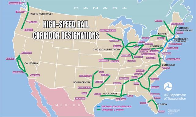 US DOT HSR corridors 2001