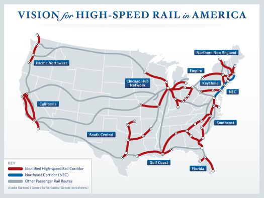 White House high speed rail corridor map