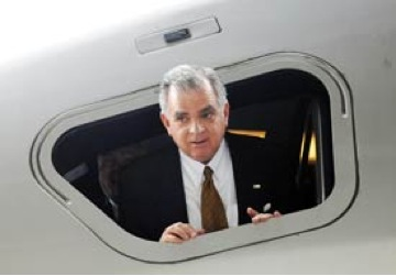 Ray LaHood on a train