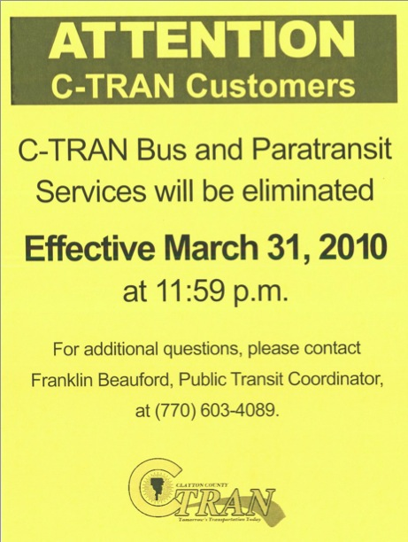 C-Tran Clayton County Transit Service Eliminated