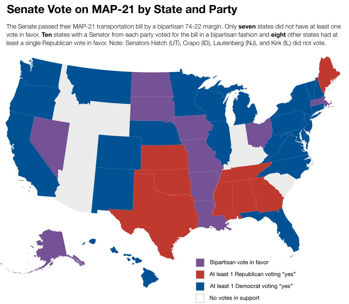 Us Senate Map 2012 Transportation For America Graphic: A closer look at the Senate