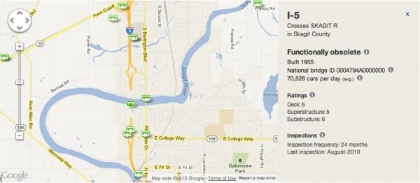 Skagit bridge collapse interactive map screenshot