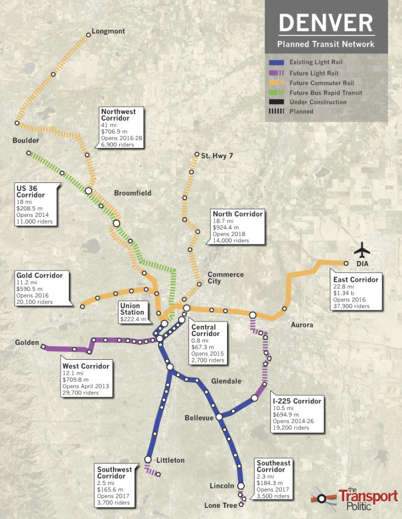 RTD Expansion Map courtesy of Yonah Freemark and The Transport Politic