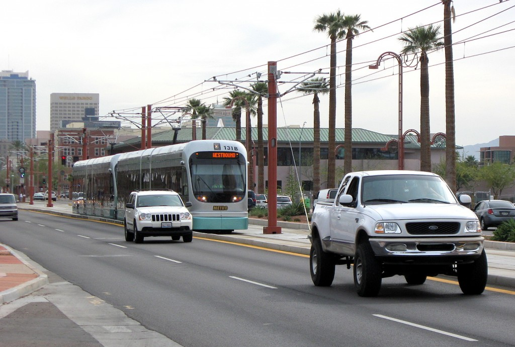 phoenix mesa light rail on street truck