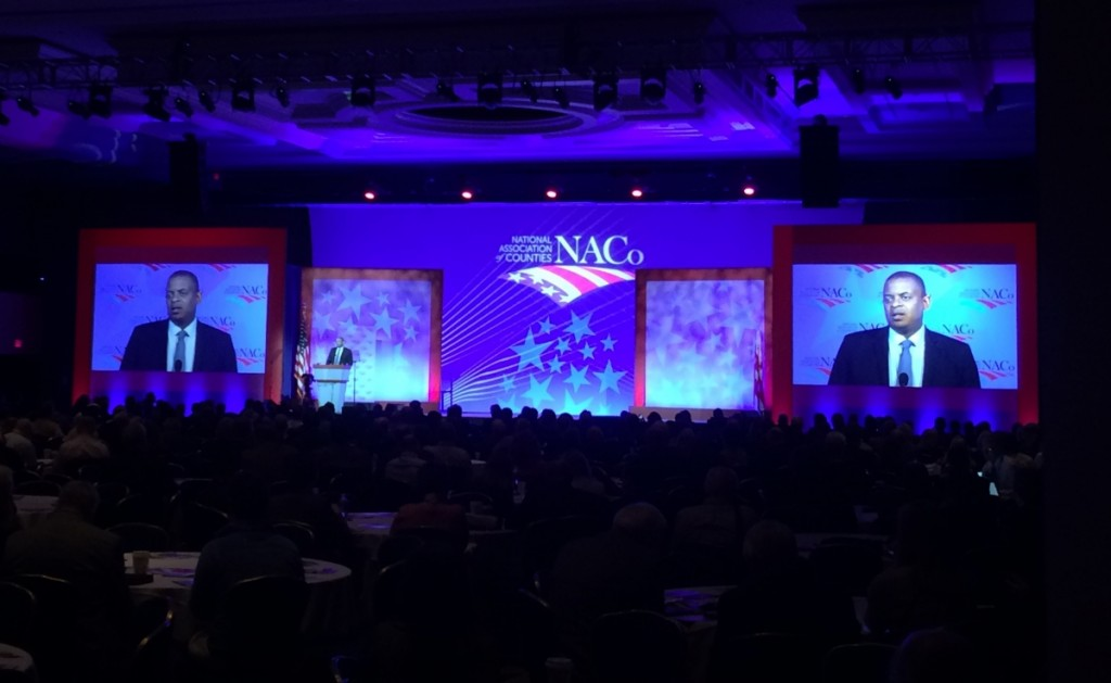 Sec. Foxx making the TIGER announcement at the NACO conference. Photo from the USDOT Fast Lane blog.