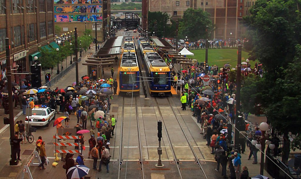 Opening day on the Green Line. Flickr photo by Michael Hicks. /photos/mulad/14238058898/