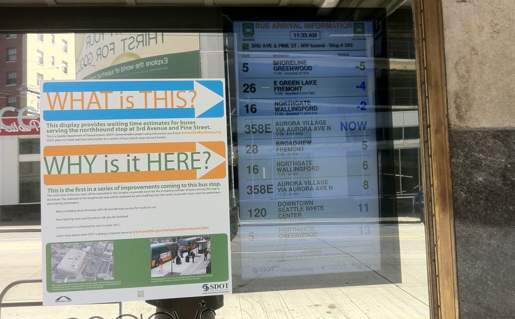 Real-time bus arrival information in a Seattle bus stop. Flickr photo by SDOT.