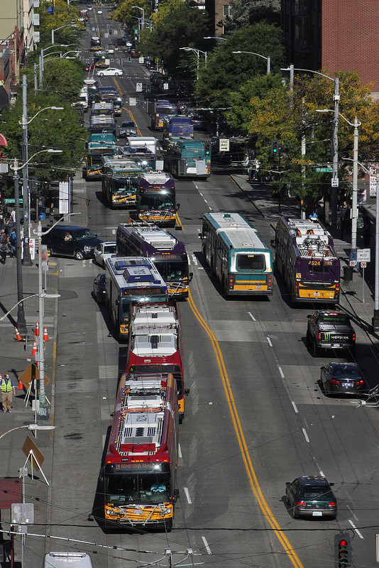 A common sight at rush hour along 3rd Avenue in Seattle - a parade of busses collecting downtown's commuter workforce.