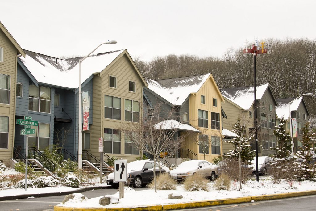 These snow-capped row houses are among Seattle's portfolio of affordable housing stock.