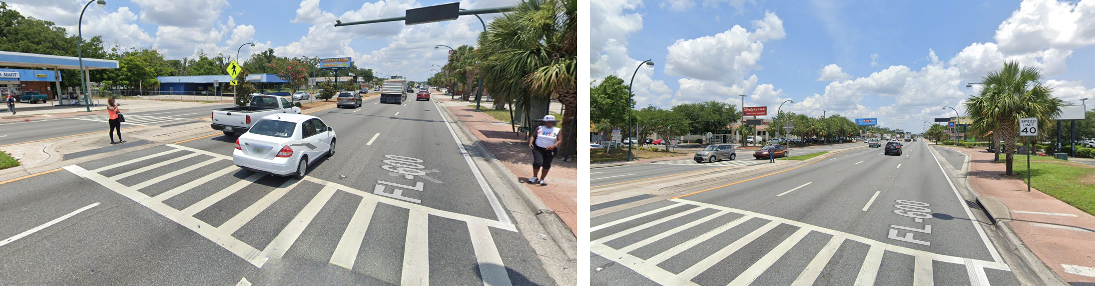 two images showing pedestrians attempting to cross the street.